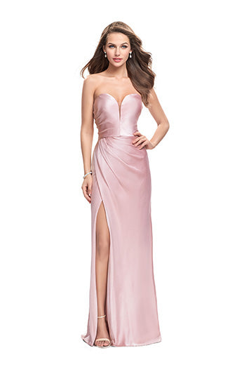 La Femme 26017 Strapless Sweetheart Satin Gown in Blush
