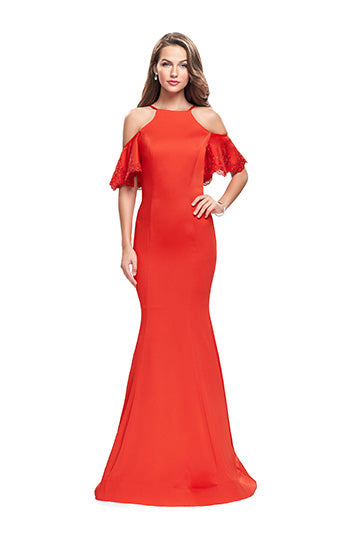 La Femme 26145 CS Hi Neck Laser Cut Gown in Poppy Red