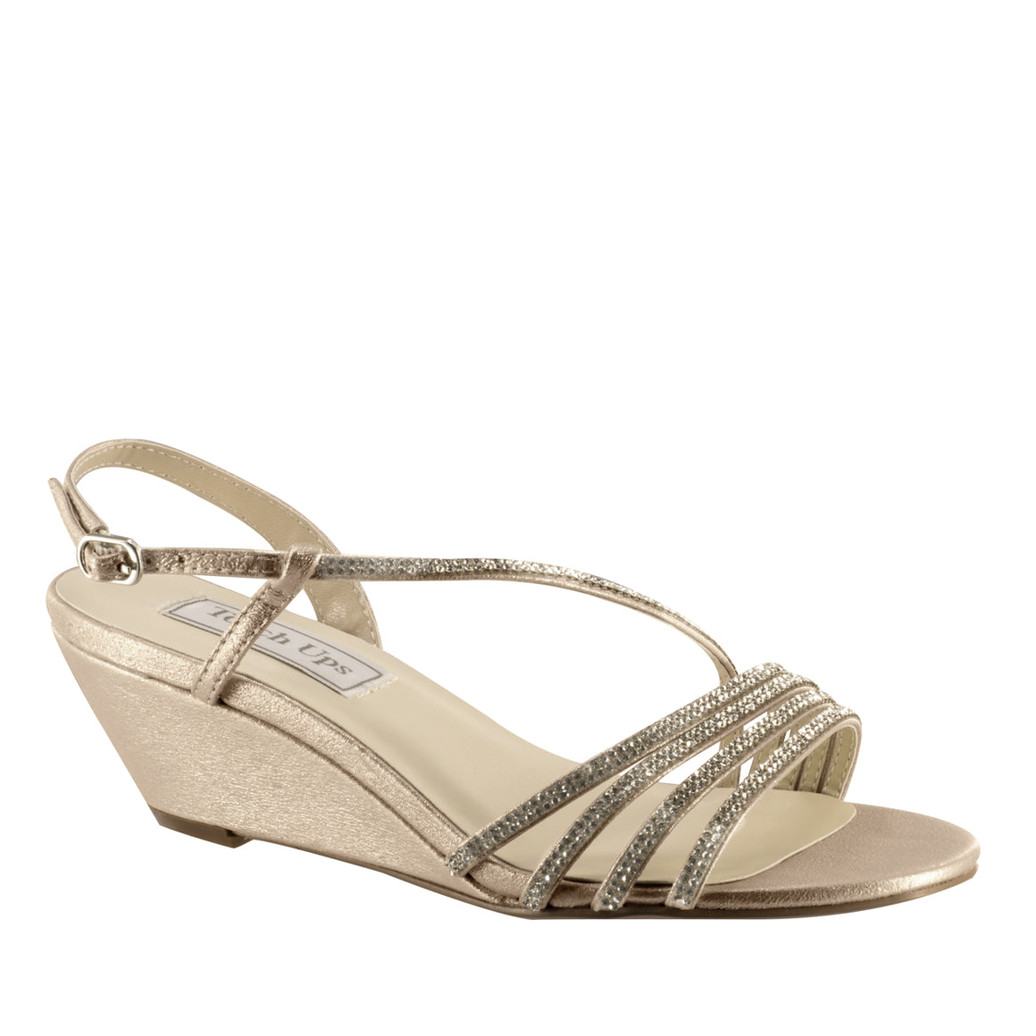 Celeste Wedge Sandal with Asymmetrical Straps in Nude Shimmer