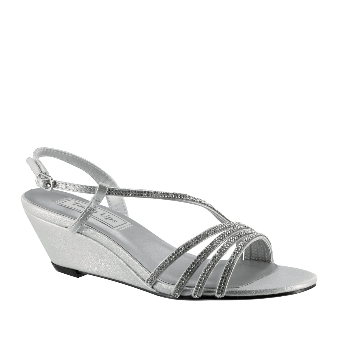 Celeste Wedge Sandal with Asymmetrical Straps in Silver