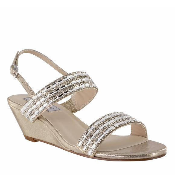 Allison Wedge Sandal With Double Jewel Straps in Nude Shimmer