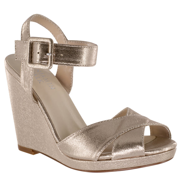 """Stormy"" Shimmer Nude Wedge With Ankle Strap"