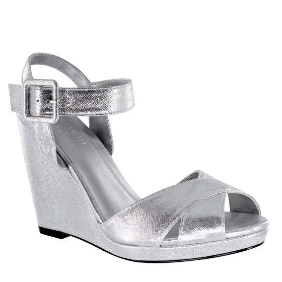 """Stormy"" Silver Shimmer Wedge With Ankle Strap"