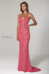 Scala USA 47542 Allover Beaded Pattern  Gown with Open Back
