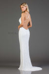 Scala USA Style 47551 Allover Beaded V-Neck Backless Gown with Criss-Cross Back Straps