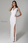 Scala USA 48933 Beaded V-Neck Fitted Gown With Lace-Up Back and Leg Slit