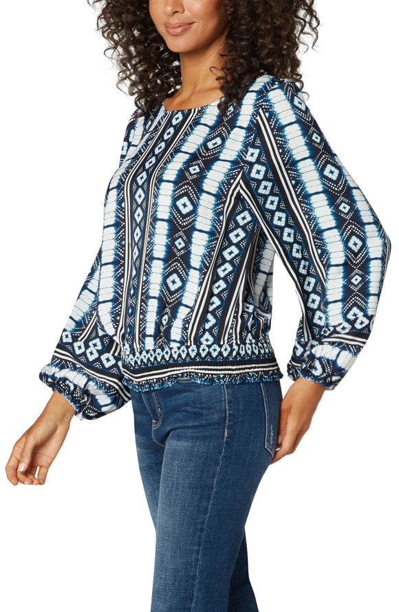 Liverpool Puff sleeve Print Blouse With Smocked Waist