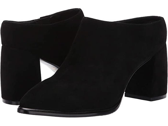 Suede Point Toe Slip On Mule in Black