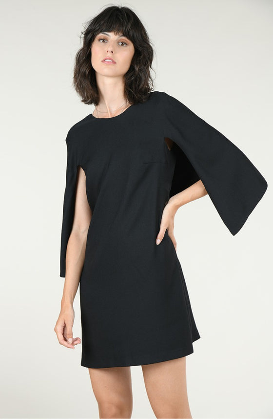 Scoop-Neck Black Shift Dress With Attached Back Cape