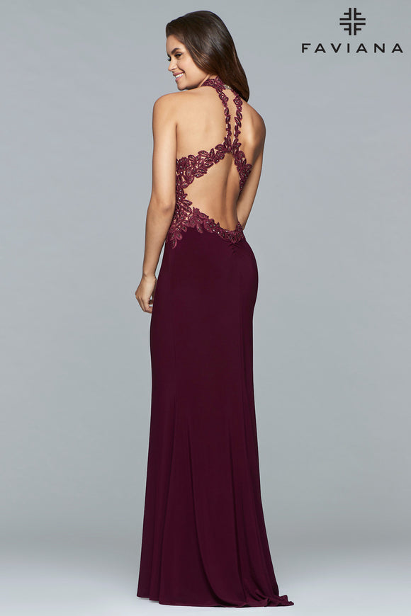 Faviana 7750  Lace Applique Halter Gown with Slit Front Jersey Skirt