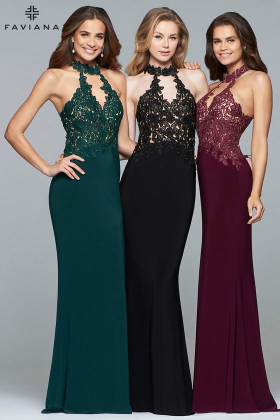 Faviana 7750  Lace Applique Halter Gown with Front Slit | Black Size 2, Red Size 0