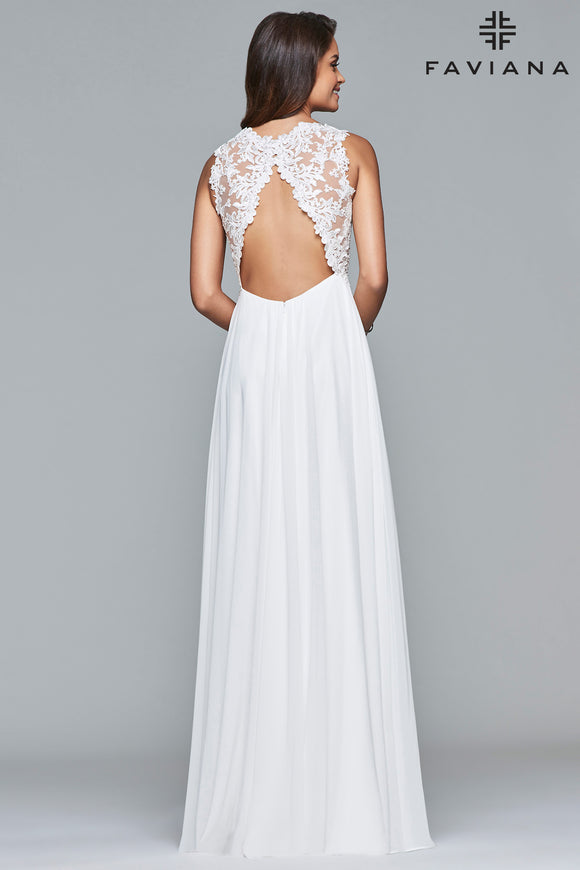 Faviana 7941 Flowy Chiffon Open Back with Lace | Ivory Size 8, Rose Pink Size 4