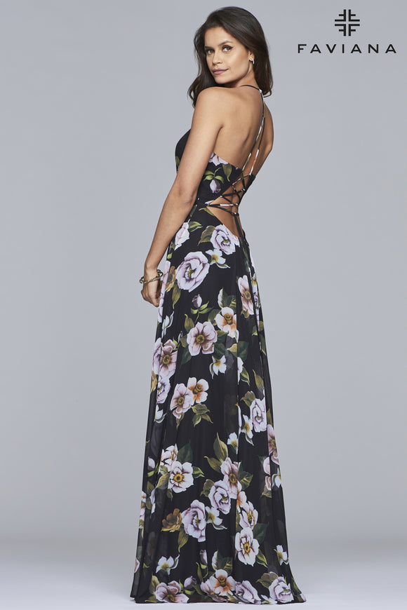 Faviana 7946 Chiffon V-Neck Lace Up Dress in Black Floral Print