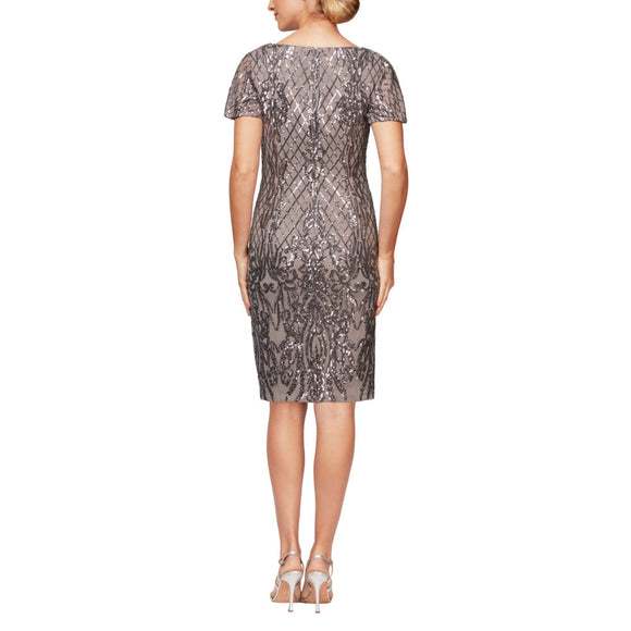 Short Sleeve V-Neck Sequin Cocktail Dress