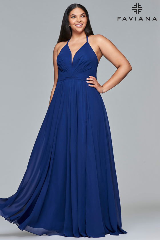 Faviana 9397 Chiffon V-Neck Lace up Plus Size in Navy