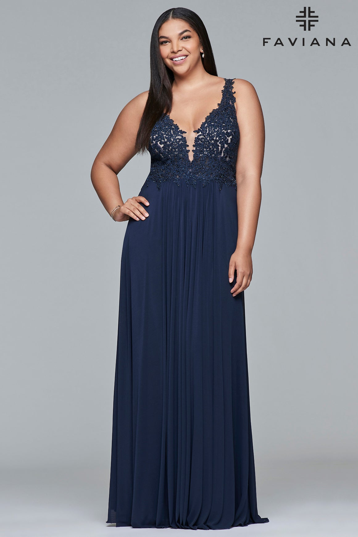 Faviana 9428 Lace V Neck with Mesh Insert  Plus Sizes in Navy