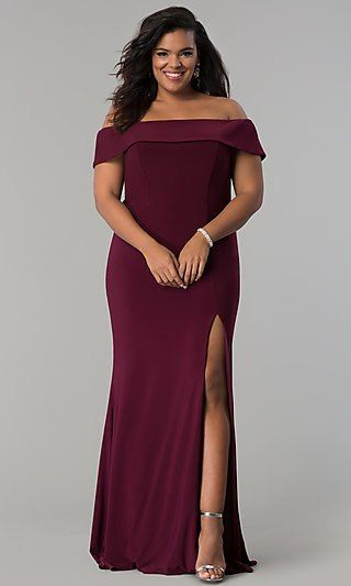 Faviana 9441 Plus Size Jersey Off the Shoulder Gown with Front Slit