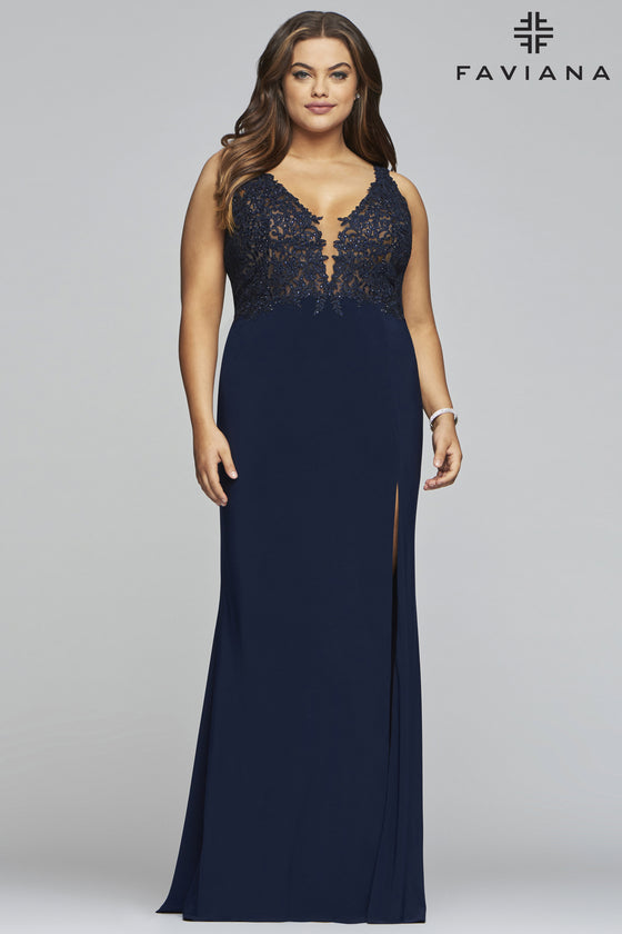 Faviana 9463 Plus Size V-Neck Jersey Gown With Applique Bodice And Side Slit Detail