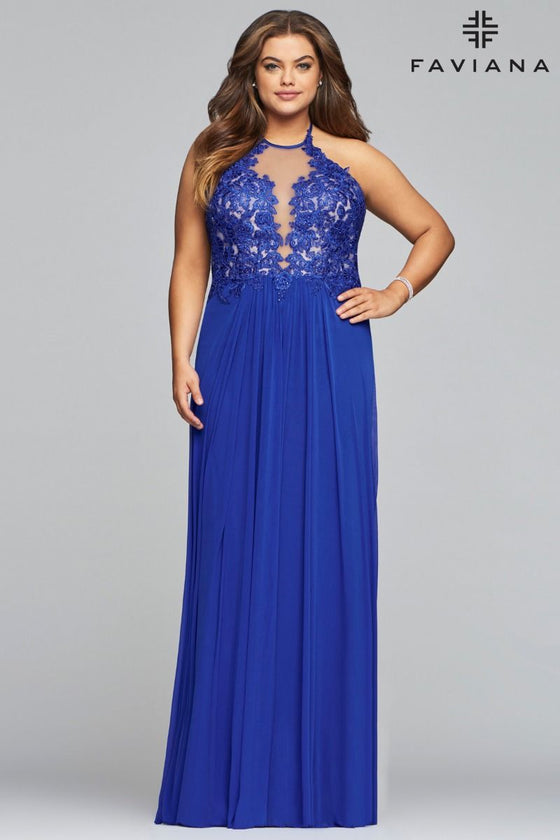 Faviana 9472 Long Jewel Neck Mesh Dress with Applique Bodice and Lace-Up Back