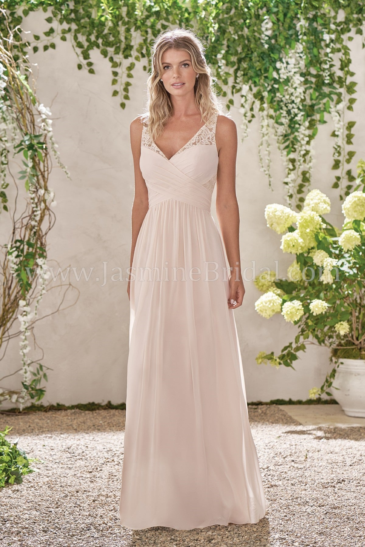 ... Poly Chiffon V-Neck Dress with Lace and Rouching - Available Long or  Short ... 1495805bb