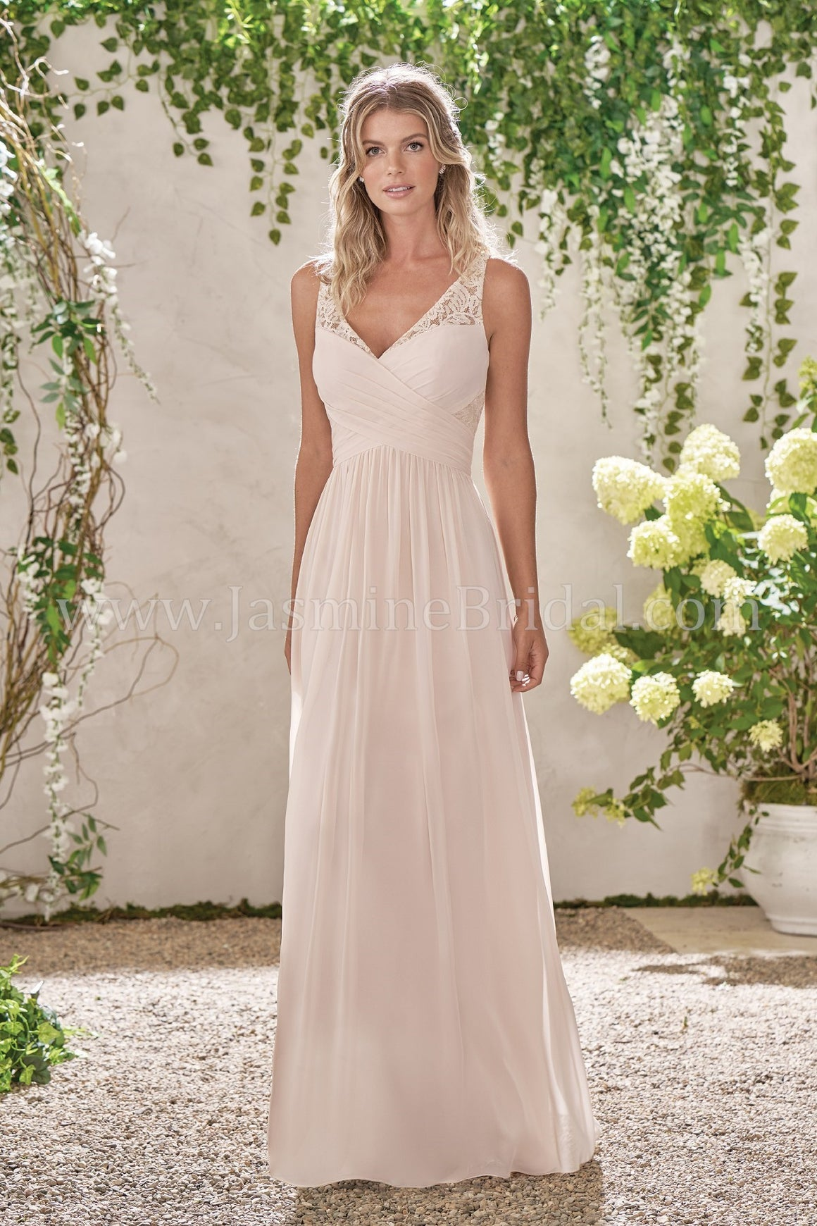 Poly Chiffon V-Neck Dress with Lace and Rouching - Available Long or Short - Several Colors - Sizes 00-34 - In Store ONLY