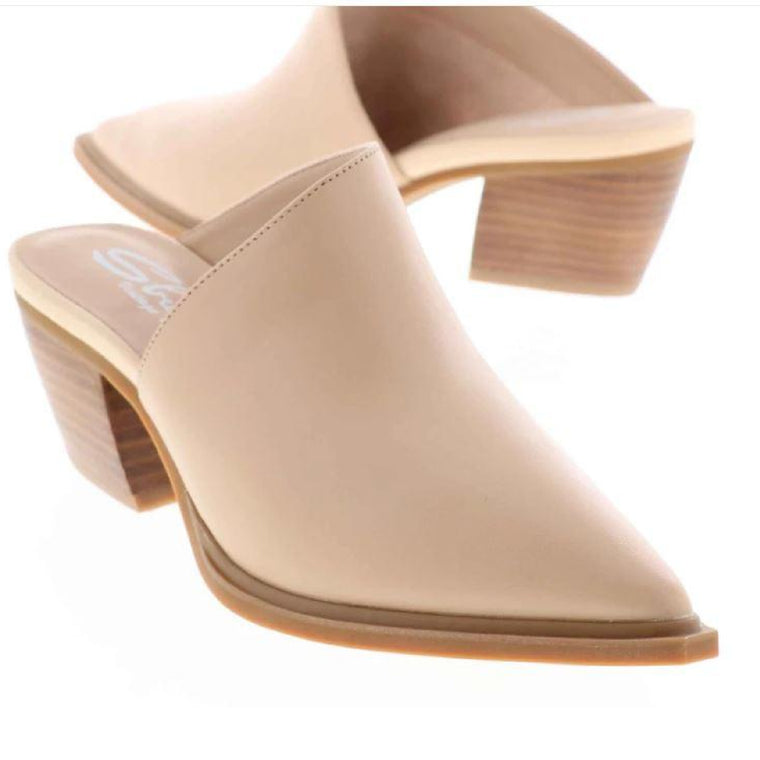 "Asymmetrical Slide Mule ""Cigar"" in Nude"