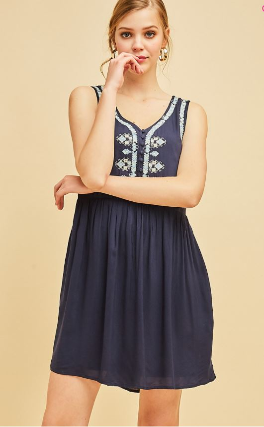 Sleeveless V-Neck Dress With Embroidered Details