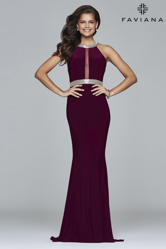 Faviana 7910 Jewel Neck Halter in Bordeaux