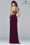 Faviana 7967 2 Piece Beaded Lace Halter in Bordeaux