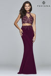 Faviana 7967 Bordeaux 2 Piece Beaded Lace Halter | Size 8