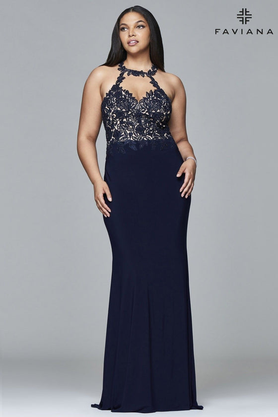 Faviana 9394 Lace Halter Jersey (Available in Navy and Bordeaux)