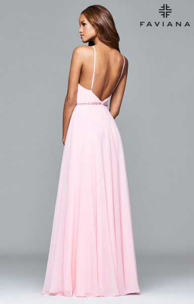 Faviana Beaded Waist Halter Chiffon with Keyhole Chest in Petal