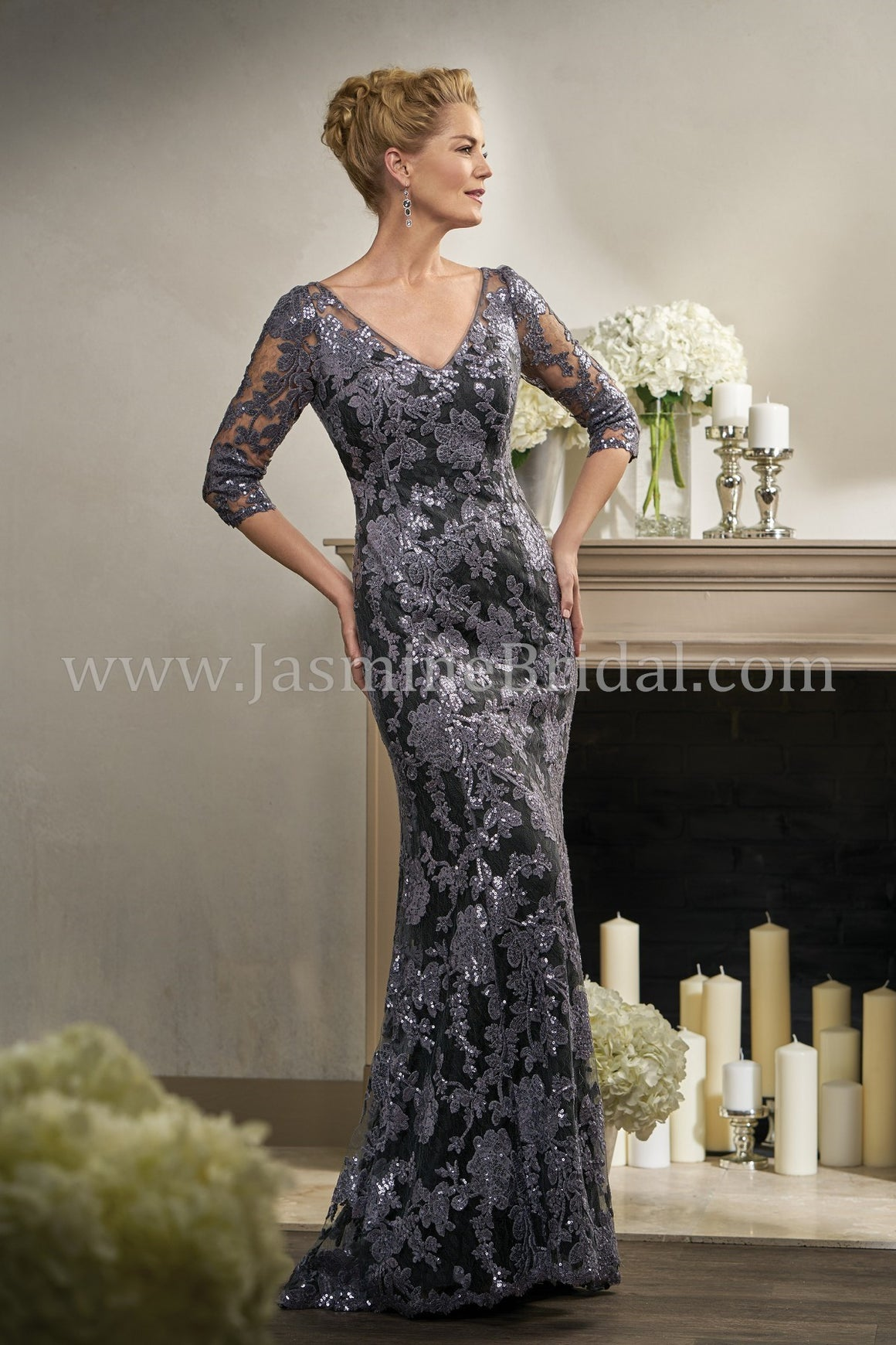 Jade Couture 3/4 Sleeve V-Neck Beaded Lace K198006