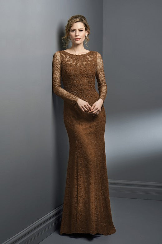 Jade Couture Long Sleeve Lace Gown (Available in 18 Colors) K198053