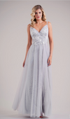 Lace Appliqué and Soft Tulle V Neck Bridesmaid Dress - Many Colors Available