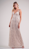 V-Neckline Striped Sequin A-Line Gown - Many Colors Available