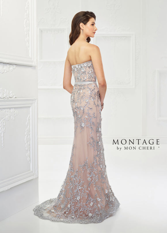 118961 Strapless Tulle and Beaded Lace Gown by Mon Cheri