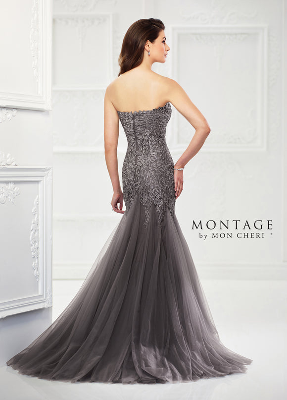 Strapless Beaded Tulle Trumpet Gown by Montage 118964