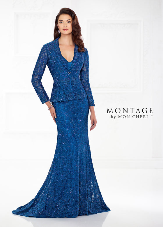 Two Piece Beaded Lace Gown with Jacket by Montage 118983