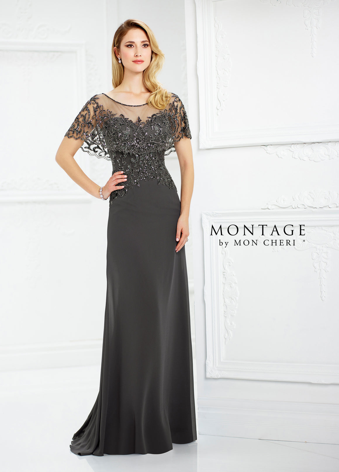 Beaded Sequins Cape Neck Chiffon Gown by Montage 217947