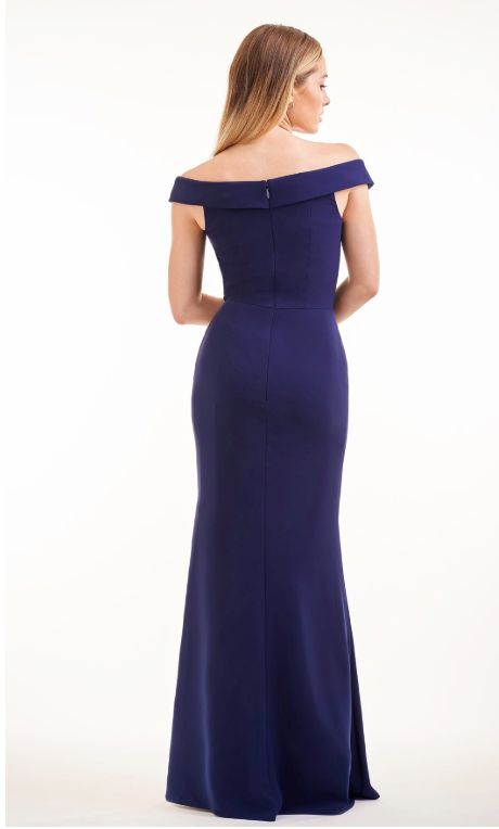 Simple Soft Crepe Long Bridesmaid Dress with Portrait Neckline - Many Colors Available
