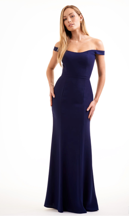 Soft Crepe Off-the-Shoulder Long Bridesmaid Dress - Many Colors Available