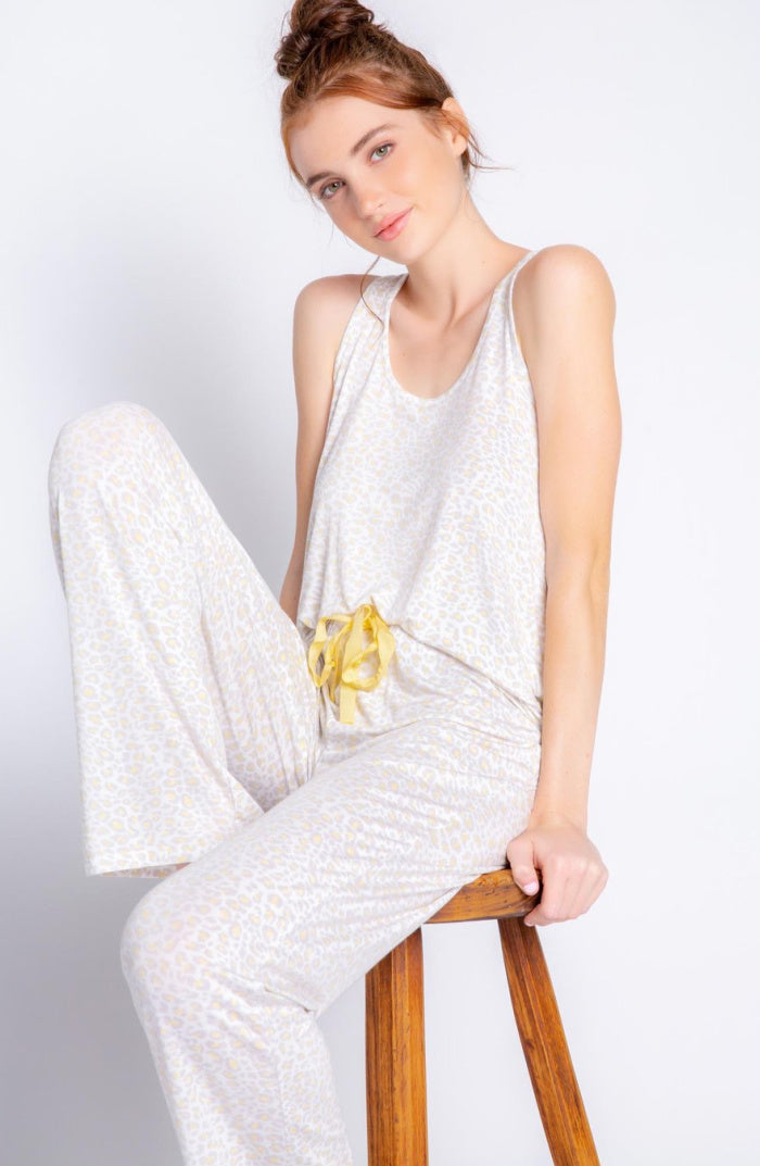 Pale Yellow/Grey Animal Print PJ Set | Racerback Tank With Matching Pant