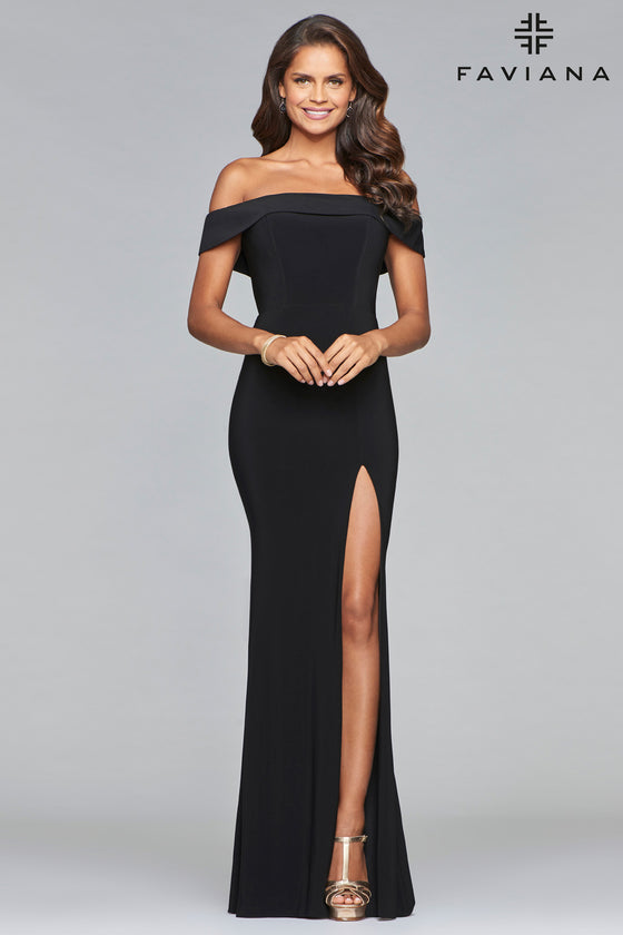 Faviana 10015 Jersey Off the Shoulder Gown with Front Slit in Black
