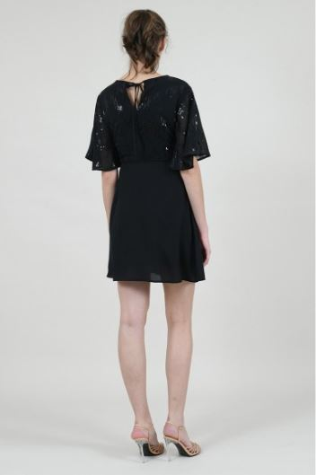 Chiffon and Sequin Short Sleeved Dress