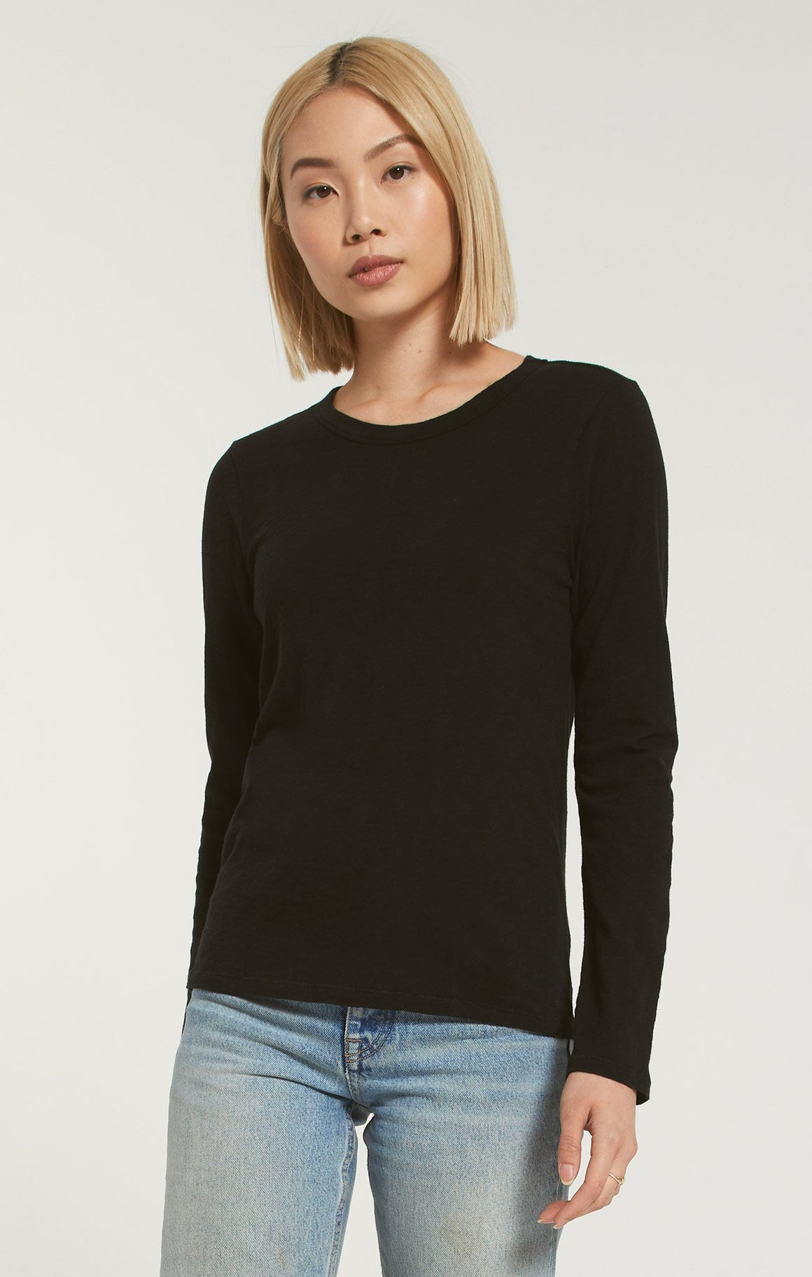 Z Supply Long Sleeve Crew-Neck Cotton Top | Black, White, Taupe