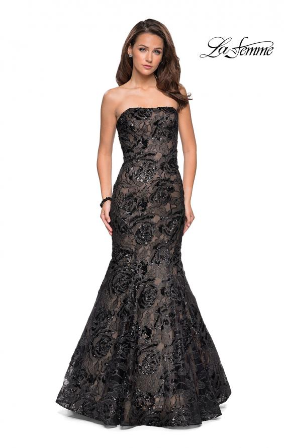 810c6df465b La Femme 27178 Strapless Mermaid Gown with All-over Sequin Embellished Lace