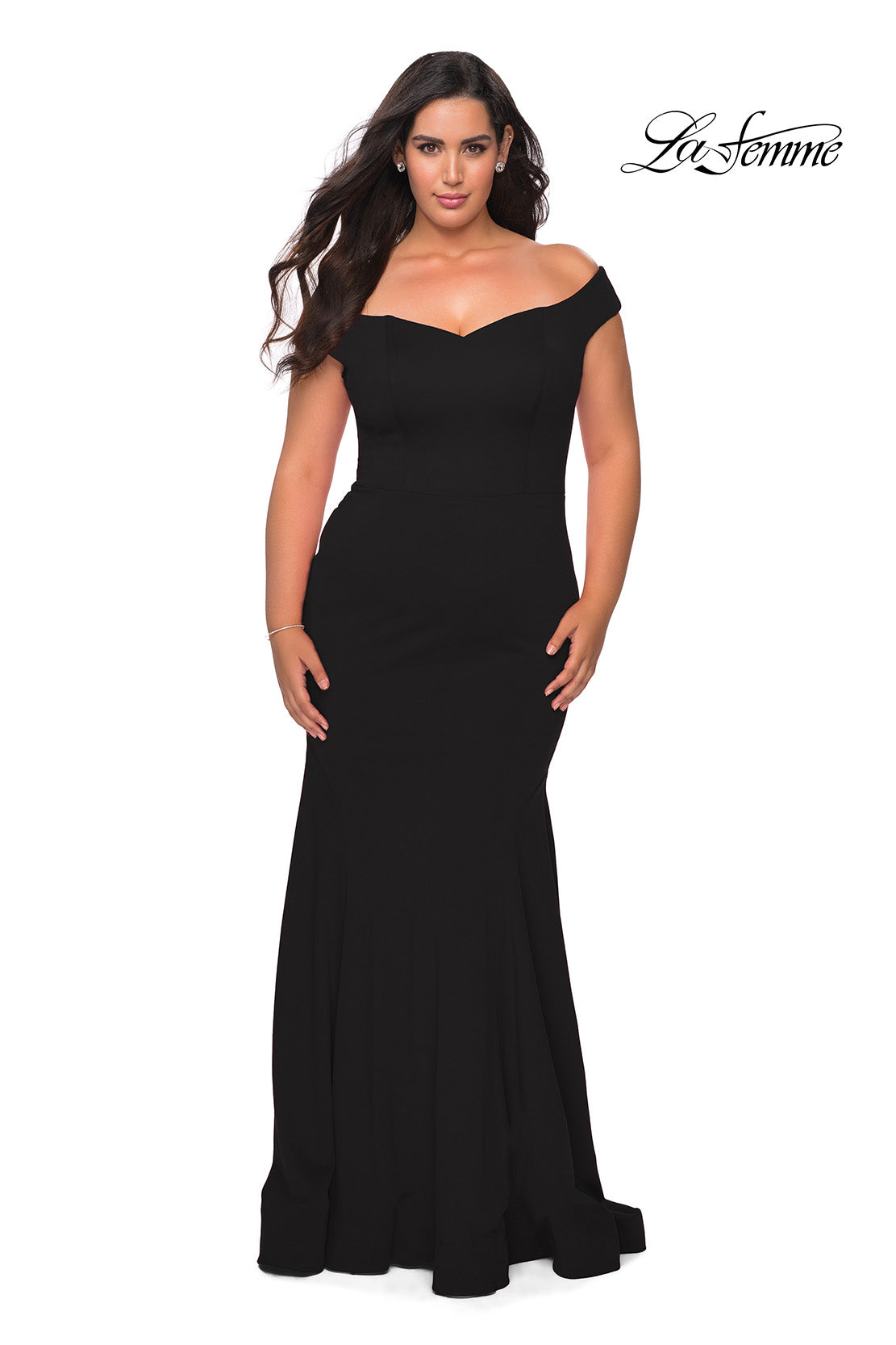 La Femme 28963 Off The Shoulder Jersey Fit & Flare Gown | Black, Red