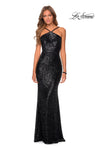 La Femme 28650 Sequin Halter Fit & Flare Gown With Open Back