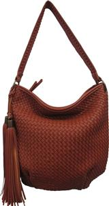 Woven Leather Texture Hobo Bag | Brown, Black